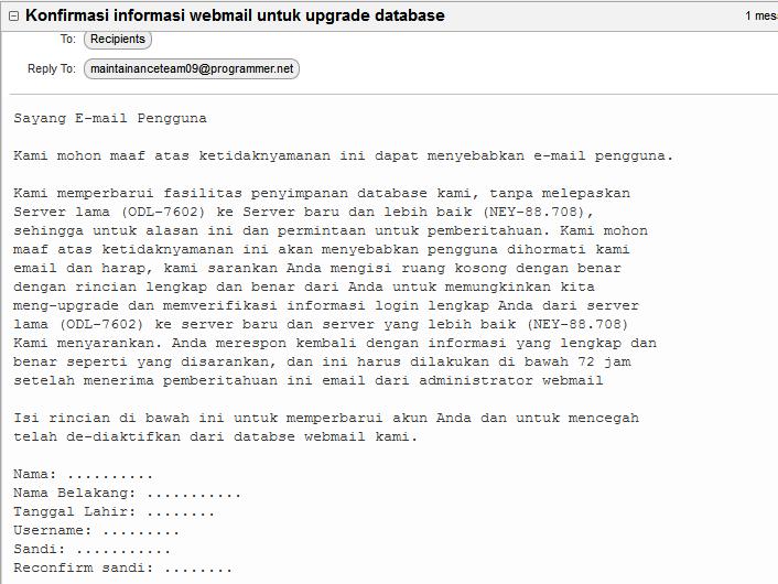 Waspada Email Penipuan Yang Meminta Data Diri User Universitas